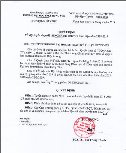 Quyết định về việc tuyển chọn đề tài NCKH của sinh viên thực hiện năm 2018 - 2019